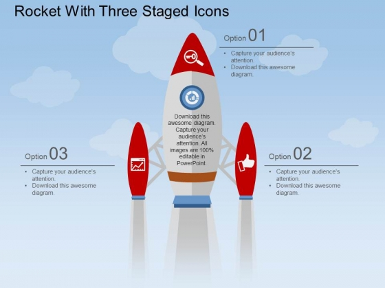 Rocket With Three Staged Icons Powerpoint Template