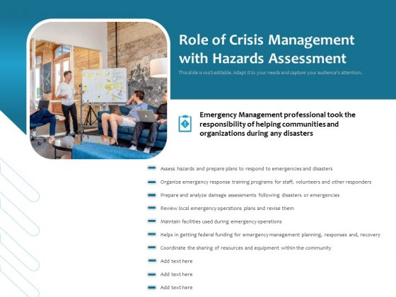 Role Of Crisis Management With Hazards Assessment Ppt PowerPoint Presentation Visual Aids Pictures PDF