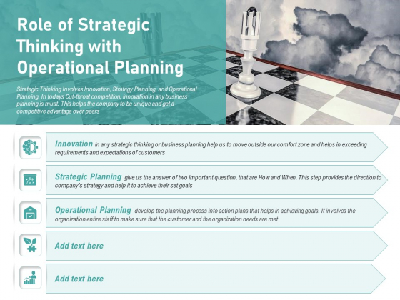 Role Of Strategic Thinking With Operational Planning Ppt PowerPoint Presentation Styles Graphics Design PDF