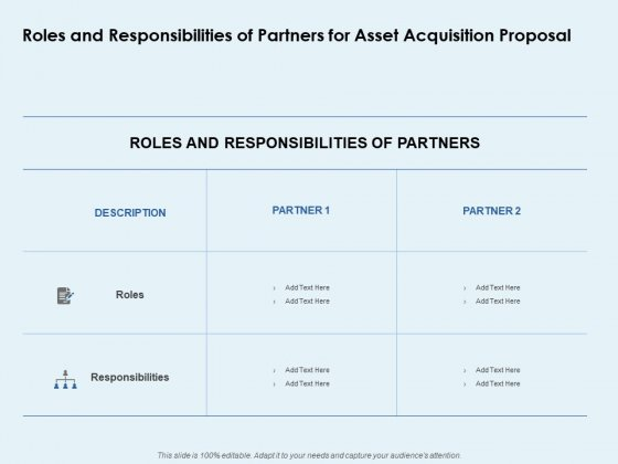 Roles And Responsibilities Of Partners For Asset Acquisition Proposal Ppt PowerPoint Presentation Infographics Template