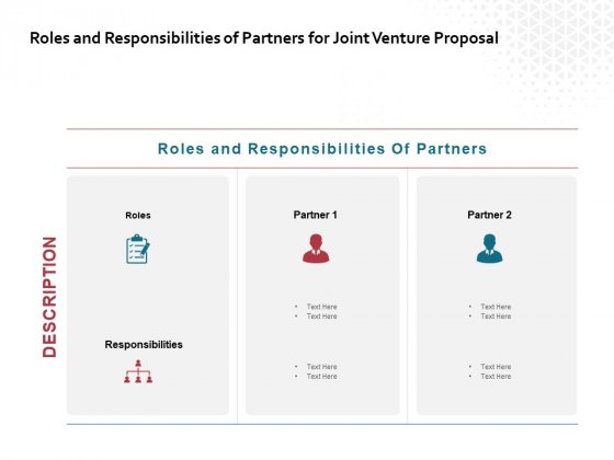 Roles And Responsibilities Of Partners For Joint Venture Proposal Ppt PowerPoint Presentation Outline Graphics Download