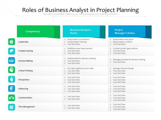 Roles Of Business Analyst In Project Planning Ppt PowerPoint Presentation Icon Designs Download PDF