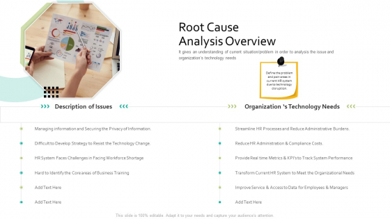 Root Cause Analysis Overview Human Resource Information System For Organizational Effectiveness Summary PDF