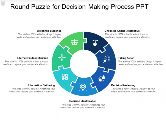 Round Puzzle For Decision Making Process PPT Ppt PowerPoint Presentation Ideas Background Image