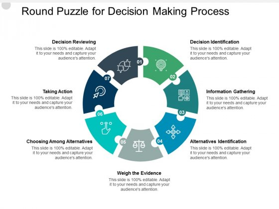 Round Puzzle For Decision Making Process Ppt PowerPoint Presentation Gallery Slideshow