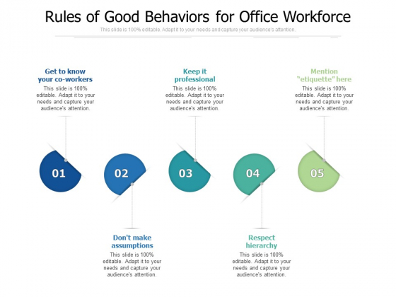 Rules Of Good Behaviors For Office Workforce Ppt PowerPoint Presentation File Information PDF