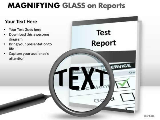 Realistic Research Magnifying Glass On Report PowerPoint Slides And Ppt Diagram Templates