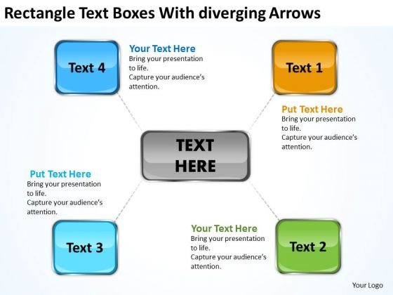 Rectangle Text Boxes With Diverging Arrows Network Software PowerPoint Templates