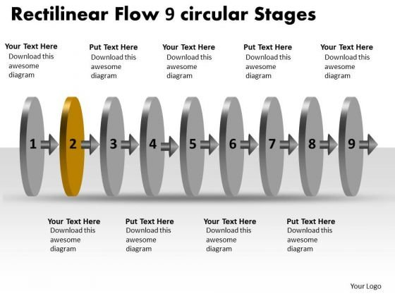 Rectilinear Flow 9 Circular Stages Free Flowchart Slides PowerPoint