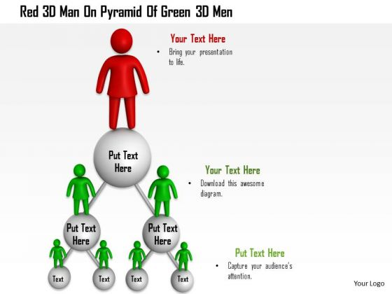 Red 3d Man On Pyramid Of Green 3d Men