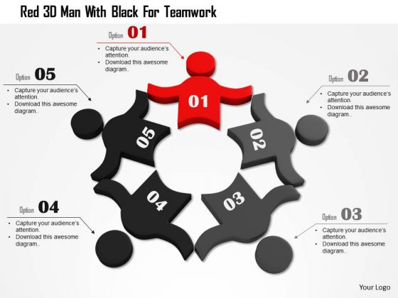 Red 3d Man With Black For Teamwork