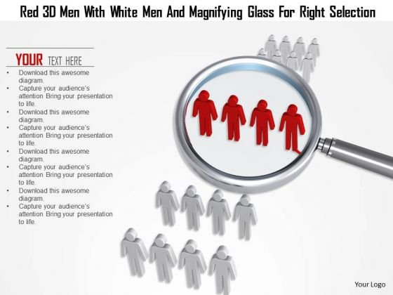 Red 3d Men With White Men And Magnifying Glass For Right Selection