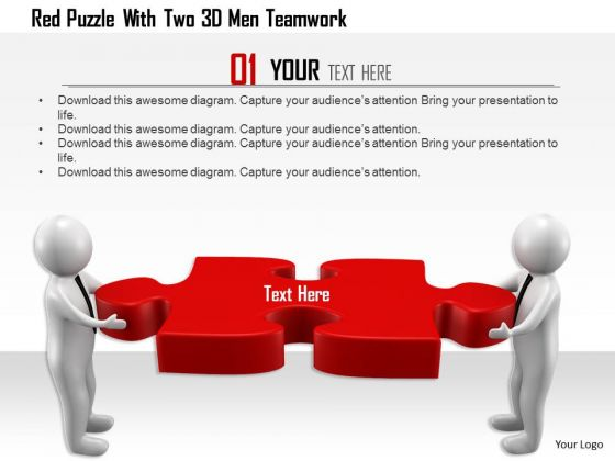 Red Puzzle With Two 3d Men Teamwork