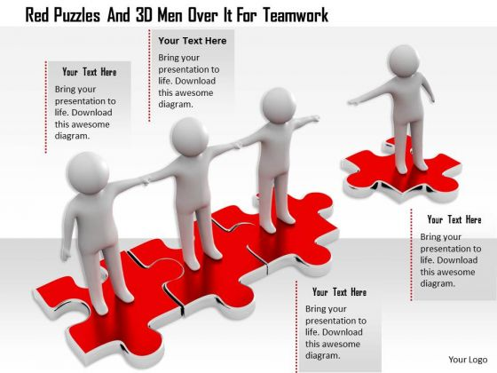 Red Puzzles And 3d Men Over It For Teamwork
