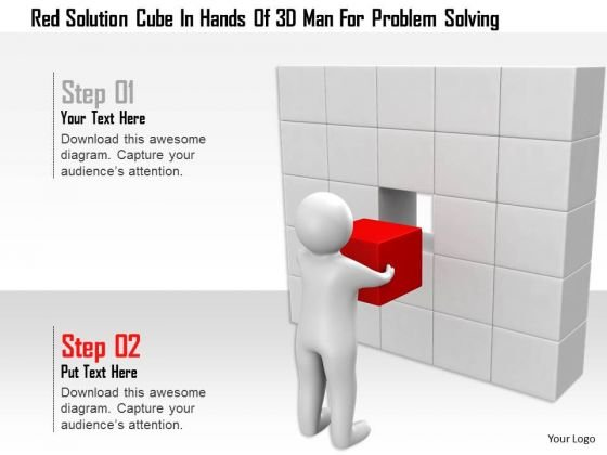 Red Solution Cube In Hands Of 3d Man For Problem Solving