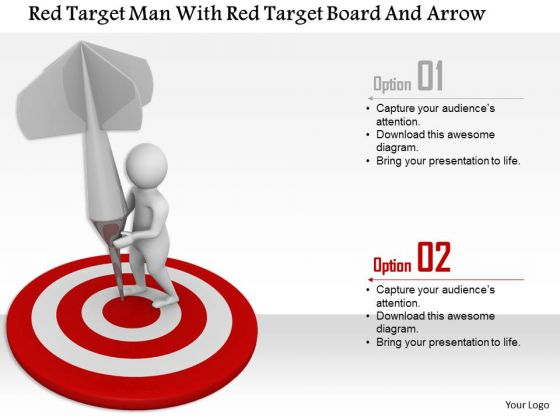 Red Target Man With Red Target Board And Arrow