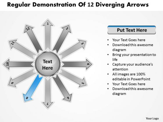 Regular Demonstration Of 12 Diverging Arrows Target Process PowerPoint Templates