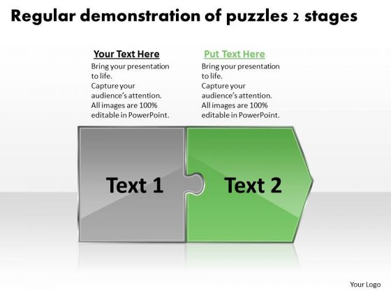 Regular Demonstration Of Puzzles 2 Stages Flow Diagram Slides PowerPoint Templates