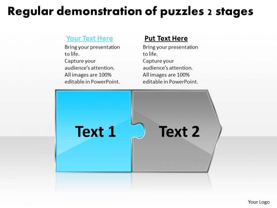 Regular Demonstration Of Puzzles 2 Stages Flow Process Charts PowerPoint Slides