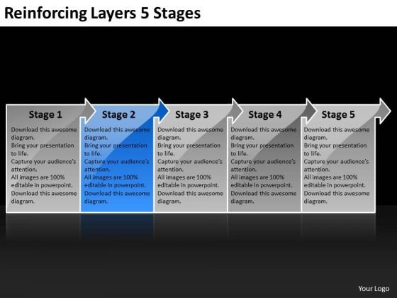 Reinforcing Layers 5 Stages Flow Chart Maker PowerPoint Templates