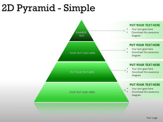 Rendered 2d Pyramid Simple PowerPoint Slides And Ppt Diagram Templates