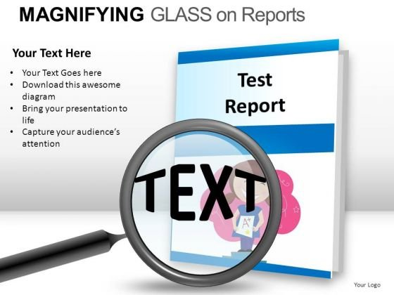 Reports Magnifying Glass On Report PowerPoint Slides And Ppt Diagram Templates