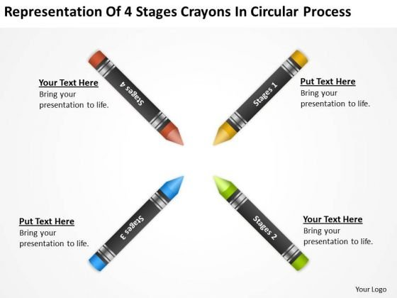 Representation Of 4 Stages Crayons In Circular Process Ppt Planning Business PowerPoint Slides