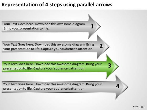 Representation Of 4 Steps Using Parallel Arrows Model Business Plans PowerPoint Templates