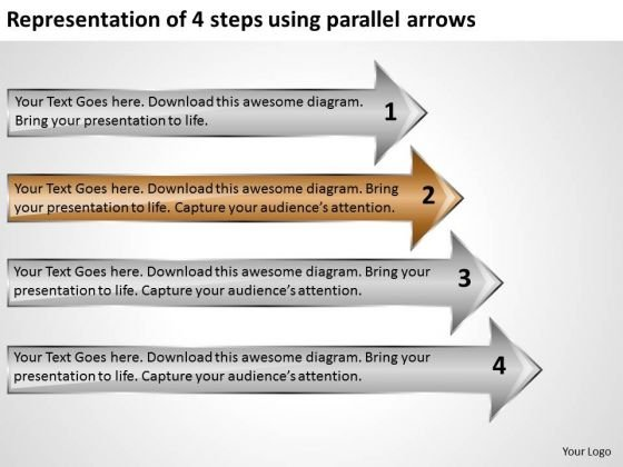 Representation Of 4 Steps Using Parallel Arrows Online Business Plan PowerPoint Slides