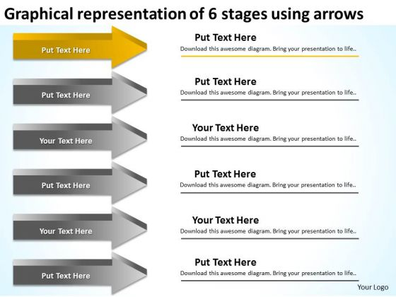 Representation Of 6 Stages Using Arrows Business Plan PowerPoint Templates