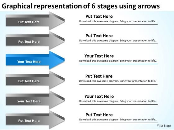 Representation Of 6 Stages Using Arrows Marketing Plan For Small Business PowerPoint Slides