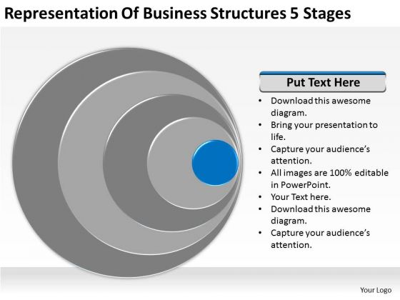 Representation Of Business Structures 5 Stages Model Plans PowerPoint Templates