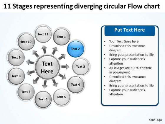 Representing Diverging Circular Flow Chart Process Diagram PowerPoint Templates