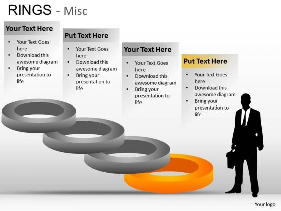 Ring Charts For PowerPoint Showing Steps Ppt Diagram Slides