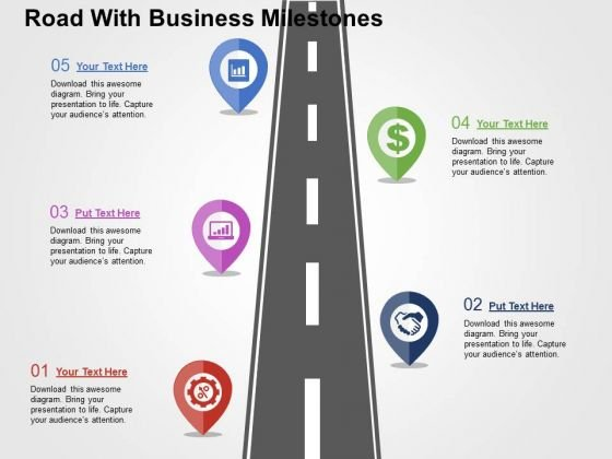 Road With Business Milestones PowerPoint Templates