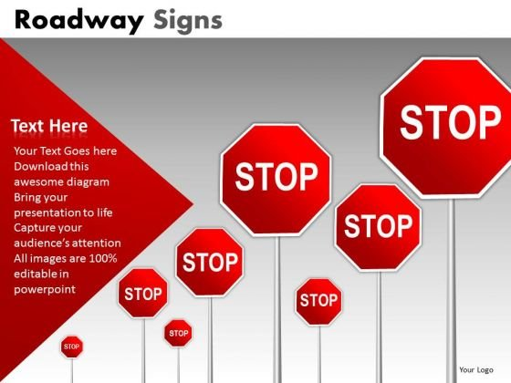 Roadway Red Stop Signs PowerPoint Slides And Editable Ppt Templates