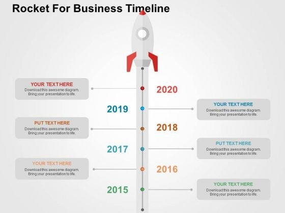 Rocket For Business Timeline PowerPoint Template