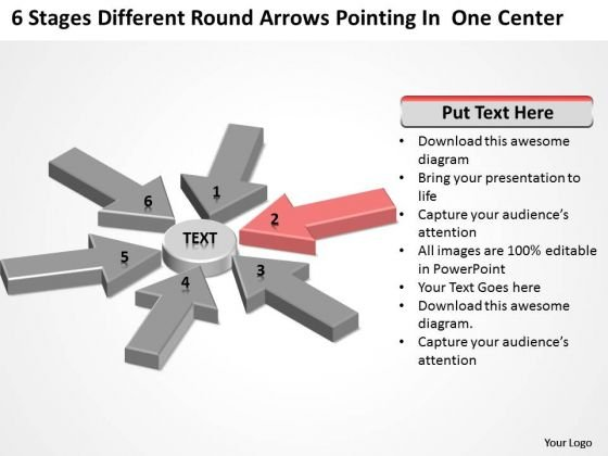 Round Arrows Pointing One Center 5 Year Business Plan Template PowerPoint Slides