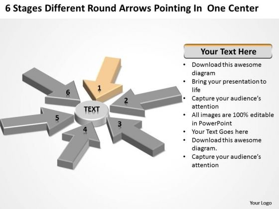 Round Arrows Pointing One Center Hotel Business Plan Example PowerPoint Templates