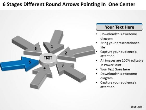 Round Arrows Pointing One Center Ppt Business Plan Template Free Word PowerPoint Templates