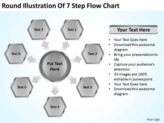 Round Illustration Of 7 Step Flow Chart Business Executive Summary PowerPoint Templates