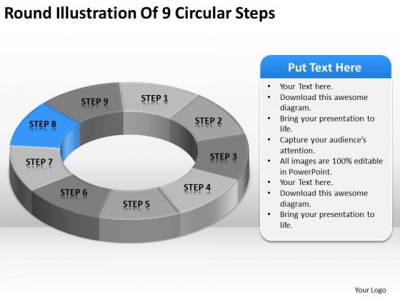 Round Illustration Of 9 Circular Steps Business Plan PowerPoint Templates