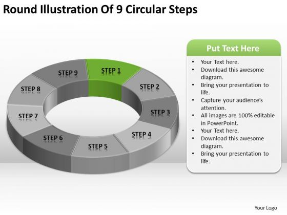 Round Illustration Of 9 Circular Steps Business Plan Sample PowerPoint Slides