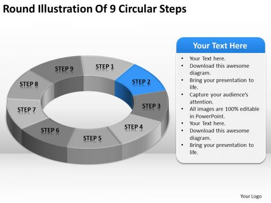 Round Illustration Of 9 Circular Steps Business Plan Template Pages PowerPoint Templates