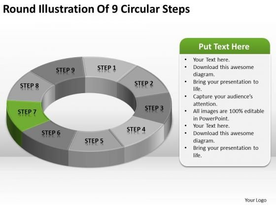 Round Illustration Of 9 Circular Steps Business Plan Template PowerPoint Templates