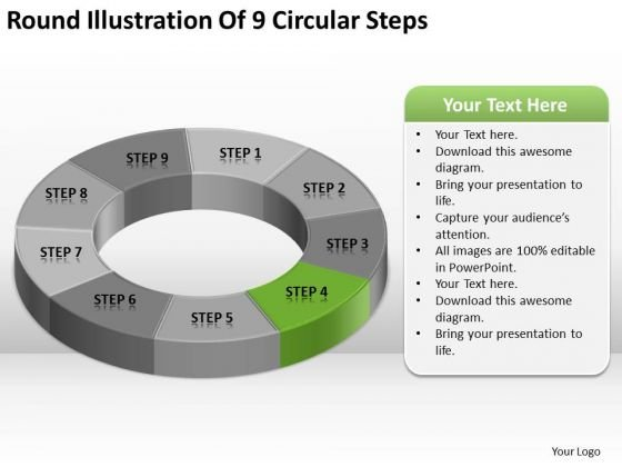 Round Illustration Of 9 Circular Steps Computer Business Plan PowerPoint Slides