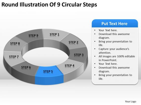 Round Illustration Of  Circular Steps Professional Business Plan