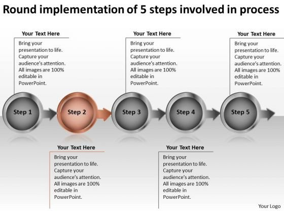 round_implementation_of_5_steps_involved_process_create_flow_chart_powerpoint_templates_1