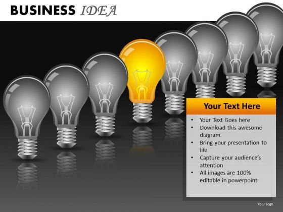 Row Of Light Bulbs PowerPoint Ppt Templates