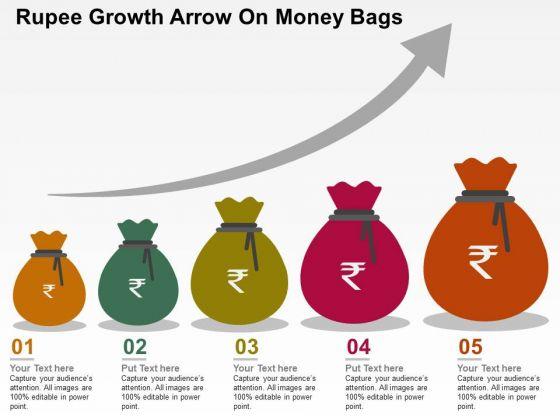 Rupee Growth Arrow On Money Bags PowerPoint Templates